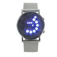 balls led watch - hot mens sports blue red lights ball display silver mesh stainless steel band digital movement women wrist led watch