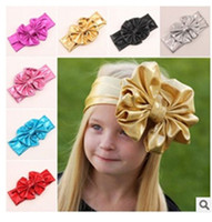 big bows infants - 2016 new Baby Big Bow Hairband Headband Stretch Turban Knot HeadWrap Bowknot Headbands Infant Hair Accessories
