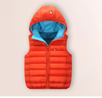 Wholesale 2016 New Autumn Winter Baby Kids Down Clothing Fashion Hoodies White Duck Boys Vest Girls Clothing Children Warm Waterproof Windproof Down