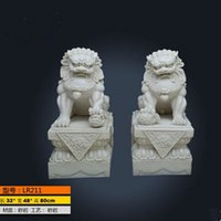 beijing arts - Resin Consecrating feng shui ornaments one pair of sandstone lion Beijing palace outdoor lions defends from evil crafts