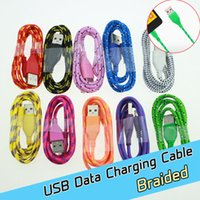 Wholesale 1M ft Braided nylon Wire Micro V8 USB Cable Sync Nylon Woven Charger Cords cables For Samsung Galaxy S3 S4 S6 Blackberry SONY