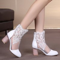 Wholesale Cool Pink High Heel Shoes - new Summer cool shoe lace high leather boots with thick hollow out shoes boots 41 yards fish mouth shoes sandals wholesale