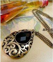 ancient gems - Ancient Retro Black Gem Long Sweater Necklace