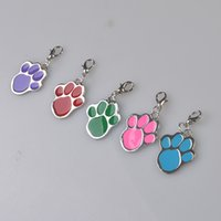 Wholesale lovely High Quality dog paw Alloy Pet Dog Cat ID Card Tags Necklace ornaments Keychain WA0293