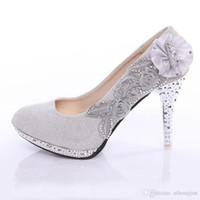 Wholesale Women s Pumps Fashion High Heels Rhinestone Flower Shoes Sexy High Heel Bridal Wedding Shoes