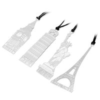 Wholesale PC Hot Travel Metal Hollow Bookmark Note Memo Paper Marker Statue of Liberty Big Ben in London Eiffel Tower Stationery Gift