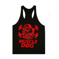 Wholesale Muscle Dog Singlet Tank Top Men Fitness Vest Bodybuilding Regatas Gold s Gym Stringer Sleeveless Shirt Cotton Clothes