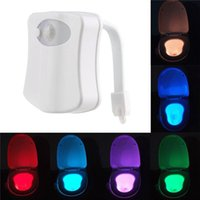 Wholesale 8 Colors Changing Motion Sensor Toilet Night Light Home Toilet Bathroom Human Body Auto Motion Activated Sensor Seat Light Night Lamp