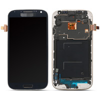 Wholesale New Blue white LCD Display Touch Screen Digitizer Frame For Samsung Galaxy S4 SIV i9505 i9500