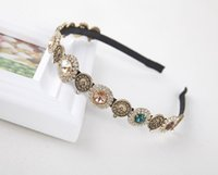Wholesale Baroque Style Vintage Round Coin Crystal Rhinestone Gem Hair Hoop Headband Hair Clip Wedding Daily Hair Accessories