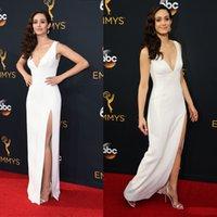 Wholesale v neck split evening dresses long th Emmy Rossum Annual Emmy Awards celebrity red carpet dress sheath sweep train