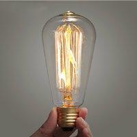 bar lamp globe - Incandescent Vintage Edison Light Bulb ST64 V V W Globe Retro Edison Lamp Bulb For Restaurant Club Coffee Bars Light
