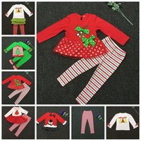 baby santa - Baby Christmas Outfits Girls Deer Christmas Tree T shirt Ruffle Pants Xmas Elk Clothing Sets Kids Cartoon Snowman Santa Claus Outfits E14
