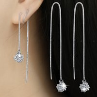 Cheap Luxury brands 925 silver earrings crystal 16cm wire Box chain earrings fashion sterling silver jewelry for women Ear wire high quality