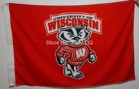 badger flag - University of Wisconsin Badgers USA NCAA Flag hot sell goods X5FT X90CM Banner brass metal holes UW05