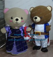 bear lover costume - Beatific Brown Teddy Bear Lovers Couples Sweethearts Spouse Mascot Costume Cartoon Character Mascotte Adult Round Ears ZZ308 FS