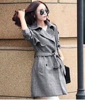 Wholesale The new double breasted big yards long in the spring and autumn long sleeved dress coat dust coat tide temperament