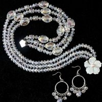 abacus beads glass crystal - White crystal glass earrings rows necklace abacus oval faceted beads high quality jewelry quot B1009