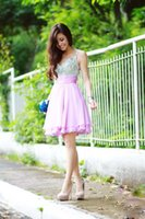 Wholesale Sweety Pink Spaghetti Knee Length Homecoming Dress Piping A line Crystal Cocktail Dress Sleeveless Sweetheart Prom Gowns