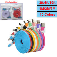 Wholesale Noodle Flat Micro Usb Cable V8 charger Charging Cables for Samsung phone s Data Sync Cord Line With Retail Bags