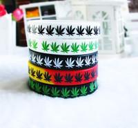 Wholesale Rasta Wristband Silicone Wrist band Bracelet pot Wrist Band Hippie Rasta Reggae RGY