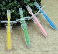 Wholesale New Safety Silicone Children Toothbrush Teethers Teething Tings Kids Soothers Brushing Training BPA FREE