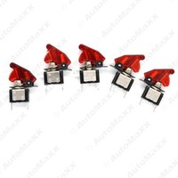 Wholesale 5pcs set Red Car Motorcycel Cover LED SPST Toggle Rocker Switch Control V A On Off