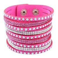 adjustable leather bracelet - Multilayer Crystal Rhinestone Leather Wrap Bracelet Charm Bracelet With Sparkling Crystal Women Adjustable Fine Jewelry Valentine Gift