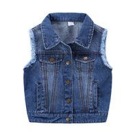 Wholesale New Kids clothes Girls Ripped tassels Design washed Denim Waistcoats Fall Winter Pockets Vintage Jackets Vests Fashion