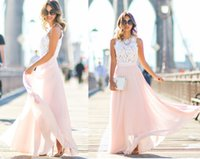 Wholesale 2017 Long Pink Prom Dresses New Style Modest Handmade Formal Lace Party Dresses Chiffon Evening Gowns