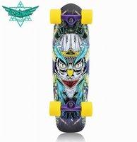 banana board - 26 inch fish skate board pastel color banana board mini cruiser long skateboard four wheel street longboard