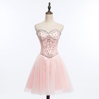 Wholesale Sweetheart Lace Tulle Ball Gown Homecoming Dress With Beads Crystal Short Party Dress Lovely Lace Up Prom Gowns