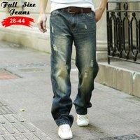 big leg pants - New Designer Plus Size Wide Leg Jeans Men Xl Xl Xl Xl Big Size Vintage Retro Loose Ripped Denim Jeans Casual Pants