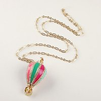 balloon pendant - Glam Gold Plated Rhinestone Balloons Mosaic Enamel pendant Necklace Bijoux cute pop coral party classic gown prom