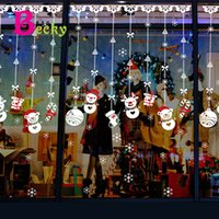 Wholesale Christmas Snowman Strap Wall Stickers Shop Window Glass Christmas Decorative Stickers