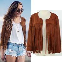 Wholesale 2016 spring and winter fashion casual women s cardigan long sleeve deerskin cashmere coat female tassel Jackets