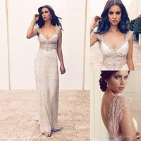 anna hot - Hot Sale Anna Campbell Bohemian Lace Wedding Dresses Deep V Neck Sexy Open Back Beaded Crystals Cheap Beach Garden Bridal Wedding Gowns