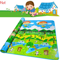 Motif de tapis de bébé Prix-Double Side Baby Character Play Mats 2X1.8X0.05M Grand Toddler Crawling Game Pads Green Forest Pattern Picnic Mats Home Floor Pad SV010373