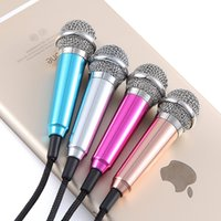 Wholesale Fashion Portable Mini Microphone Stereo Condenser Mic For IPhone IOS Android Smartphone PC Laptop Chatting Singing Karaoke HS702