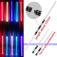 Wholesale 2pcs set Combination Star Wars Lightsaber with Light Sounds Laser Sword Toys Cosplay Weapons Double Sabers for kid boys Gift