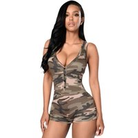 army playsuit - Combinaison Femme Army Camouflage Sleeveless Short Fitness Playsuit Women V neck Casual Sport Bodysuits Summer Casual Jumpsuits