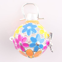 Wholesale Enamel Flower Gift for Pregnant Mother New Vintage Round Hollow Openable Cage Locket Pendant DIY Necklace Fit Round Ball Inside C168