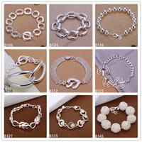 Wholesale Full quartet eight grid prayer beads sterling silver bracelet pieces mixed style GTB23 New arrival women s gemstone silver bracelet
