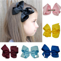 Hair Bows alligator clips - All in Stock Colors inch Plain Colored Grosgrain Ribbon Boutique Hair Bows with Alligator Clips