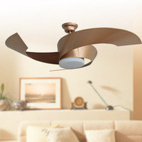 Wholesale Contemporary fashionable style led ceiling fans lights quot mm gold three blade ABS fans remote control indoor led ceiling fans V V