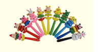Wholesale Creative wooden baby rattle cartoon musical rattles years old baby early childhood educational universal rotating bell