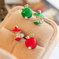 apple green jade earrings - 2 Colors Fruit Fashion Green Red Apple Rhinestone Asymmetric Stud Earrings for Women Jewelry