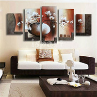artist flowers - High Skills Artist Hand painted Abstract FLOWER Oil Painting On Canvas Handmade WHITE BROWN VASE FLOWERS WALL Painting For LIVING ROOM Decor