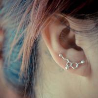Wholesale New Arrival Bio Chemistry Serotonin Molecule Earring Dopamine Ear Stud Pin Vine Sweep Jewelry