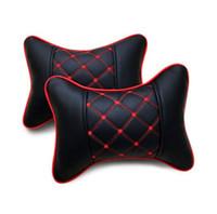 Wholesale Hot Colors Leather Hole digging Headrest Pillow Car Headrest Supplies Neck Auto Safety Pillow Car Seat Covers Pillow Headrest